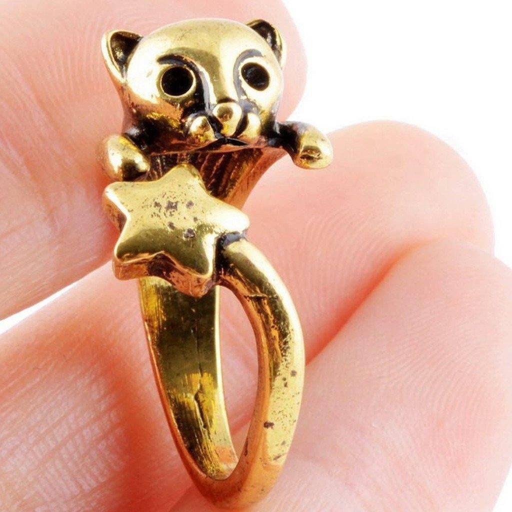 Cat Star Tail Adjustable Ring Cat Design Jewelry Pet Clever Gold