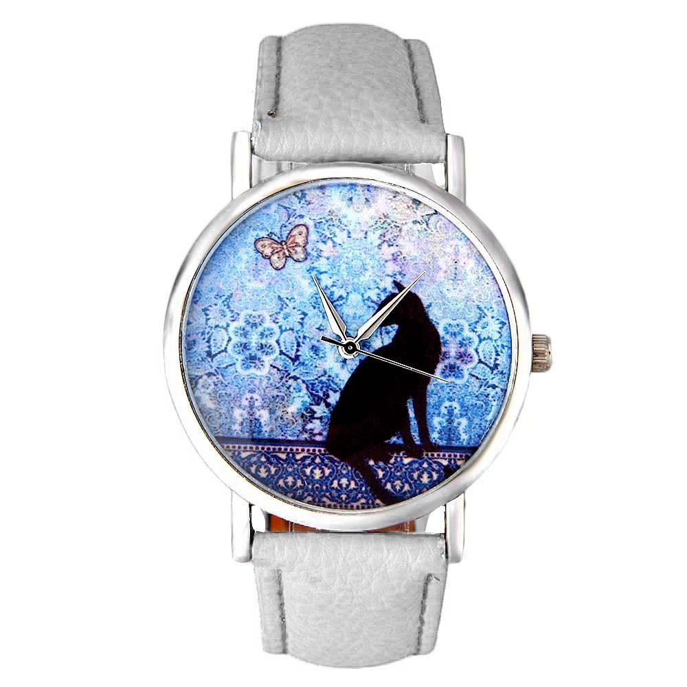 Cat with Butterfly Design Leather Wristwatch Cat Design Accessories Pet Clever White