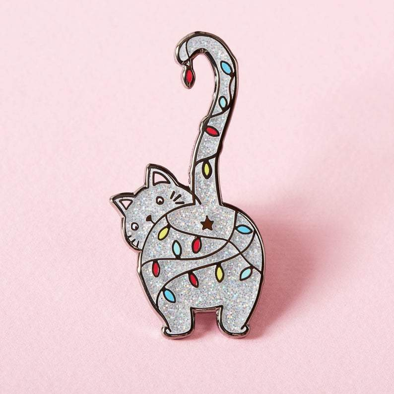 Cat with Colorful Lights Brooch Cat Design Accessories Pet Clever