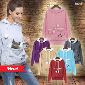 Catagaroo Hoodies with Kangaroo Pouch For Your Cat Cat Carriers Pet Clever Grey S