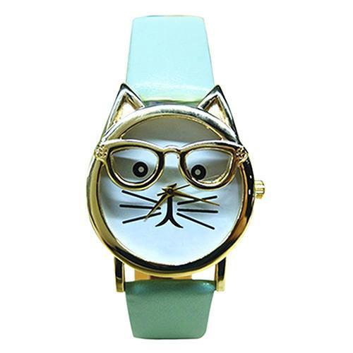 Cattitude Cat Lovers Leather Watch Cat Design Accessories Pet Clever Mint Green