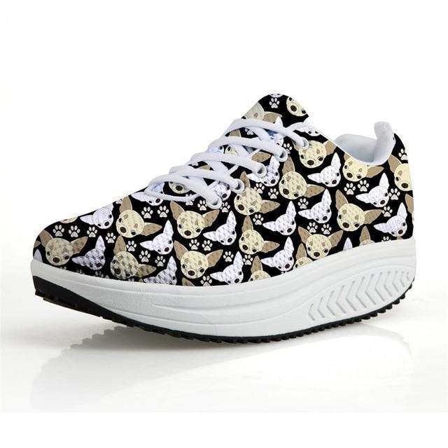 Chihuahua Dog Print Flat Platform Creepers Shoes Dog Design Footwear Pet Clever 1 5