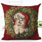 Christmas Design Decorative Pillow Case Home Decor Dogs Pet Clever No.6