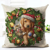 Christmas Design Decorative Pillow Case Home Decor Dogs Pet Clever No.5