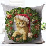 Christmas Design Decorative Pillow Case Home Decor Dogs Pet Clever No.2