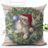 Christmas Design Decorative Pillow Case Home Decor Dogs Pet Clever No.8