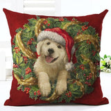 Christmas Design Decorative Pillow Case Home Decor Dogs Pet Clever No.1