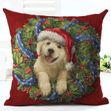 Christmas Design Decorative Pillow Case Home Decor Dogs Pet Clever No.4