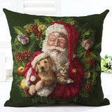 Christmas Design Decorative Pillow Case Home Decor Dogs Pet Clever No.9