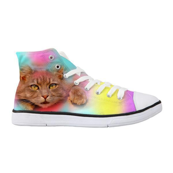 Classic Women High Top Colorful Bothered Cat Shoes Cat Design Footwear Pet Clever US 5 - EU35 -UK3