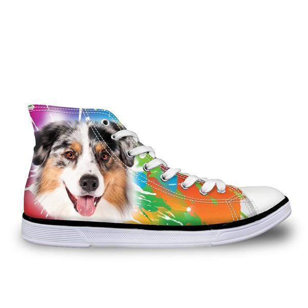 Color Splash High Top Women 3D Dog Print Shoes Dog Design Footwear Pet Clever 1 5