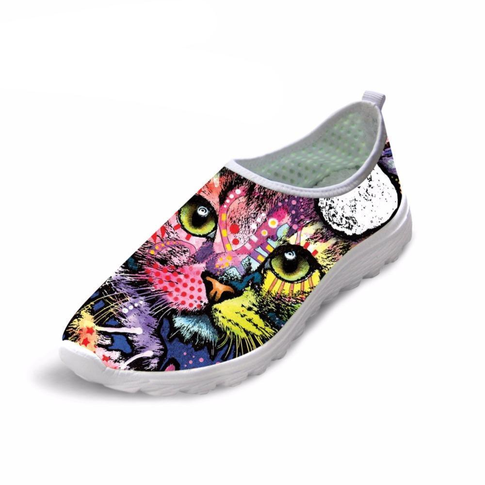 Colorful Cat Printed Women Mesh Flat Loafer Shoes Cat Design Footwear Pet Clever