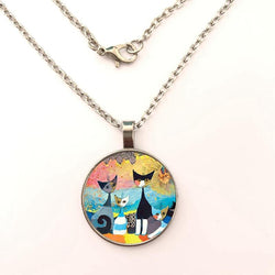 Colorful Cats Family Necklace