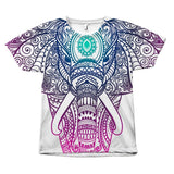 Colorful Elephant Mandala Pattern Print Design T-Shirt All Over Print teelaunch Elephant Mandala Art S