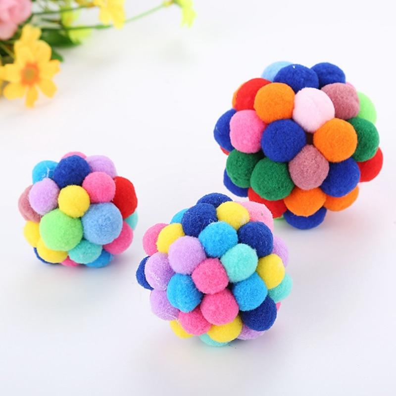 Colorful Handmade Bouncy Ball Interactive Cat Toy Cat Pet Clever