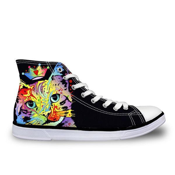 Colorful Women High Top Canvas Queen Cat Shoes Cat Design Footwear Pet Clever US 5 - EU35 -UK3