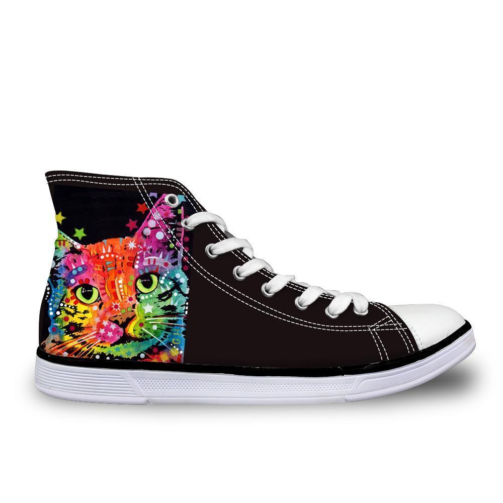 Colorful Women High Top Canvas Starry Cat Shoes Cat Design Footwear Pet Clever US 5 - EU35 -UK3