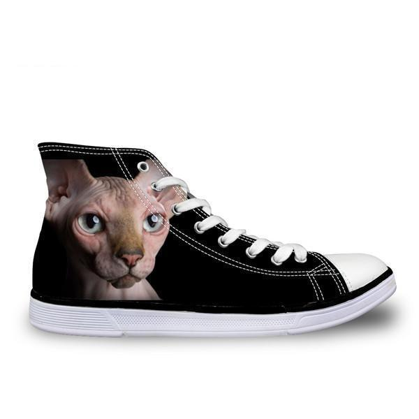 Cool Hairless Angry Cat Printed High Top Vintage Shoes Cat Design Footwear Pet Clever US 5 - EU35 -UK3