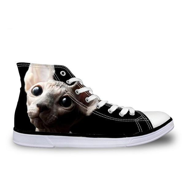 Cool Hairless Awesome Cat Printed High Top Vintage Shoes Cat Design Footwear Pet Clever US 5 - EU35 -UK3