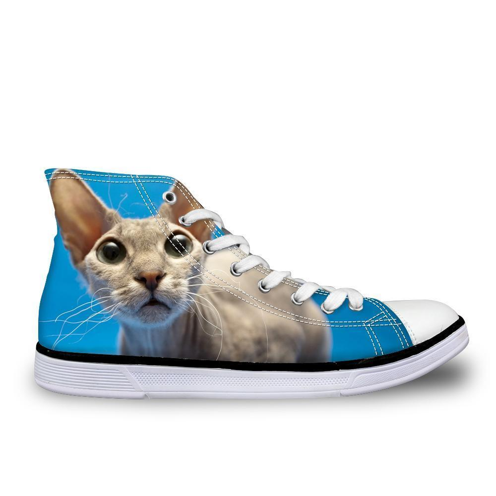 Cool Hairless Cute Cat Printed High Top Vintage Shoes Cat Design Footwear Pet Clever US 5 - EU35 -UK3