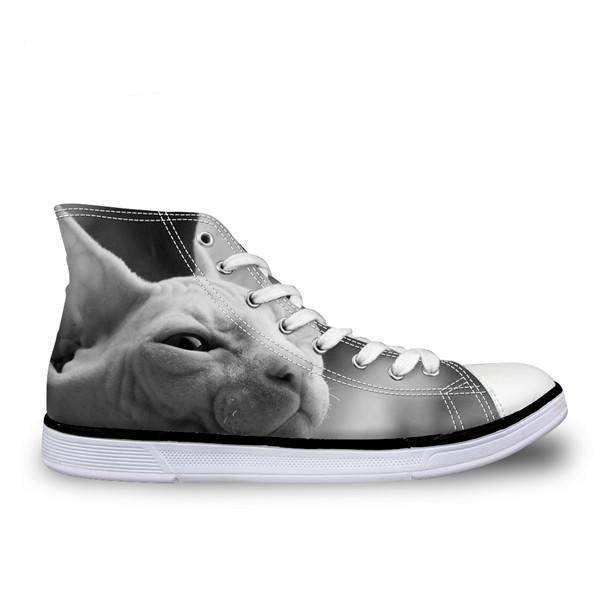 Cool Hairless Wink Cat Printed High Top Vintage Shoes Cat Design Footwear Pet Clever US 5 - EU35 -UK3