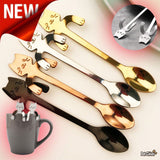 Creative Cat Design Coffee & Tea Spoon Home Decor Cats Pet Clever 4Pcs (4 Different Colors) 1Pcs