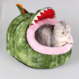 Crocodile Cat House Bed With Removable Cushion & Waterproof Bottom Cat Beds & Baskets Pet Clever Large