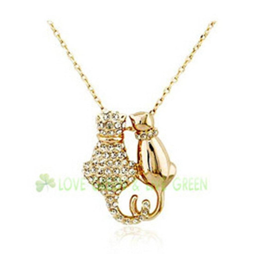 Crystal Duo Cat Pendant Necklace Cat Design Jewelry Pet Clever Gold