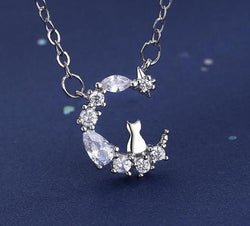 Crystal Moon Cat Necklace
