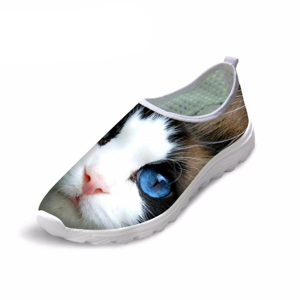 Cute 3D Mysterious Cat Print Air Mesh Shoes Cat Design Footwear Pet Clever US 5 - EU35 -UK3