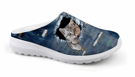 Cute 3D Posing Cat Printing Air Mesh Beach Shoes Cat Design Footwear Pet Clever US 5 - EU35 -UK3