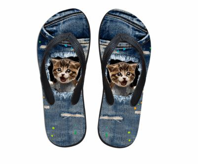 Cute Annoyed Cat Print Flip Flops Slippers Cat Design Footwear Pet Clever US 5 - EU35 -UK3