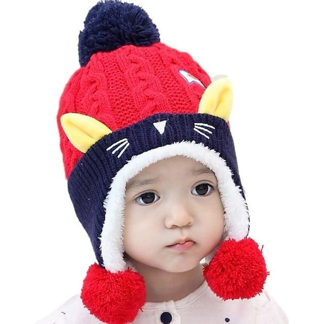 Cute Baby Winter Hat Warm Beanie Cap Cat Design Accessories Pet Clever Red