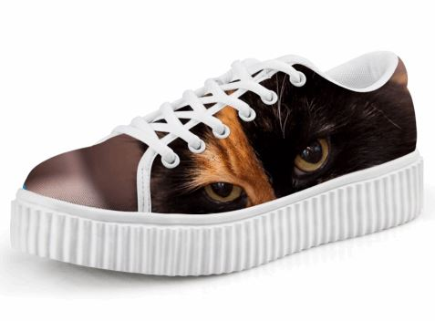 Cute Black and Orange Cat Printing Casual Lace-up Platform Creepers Shoes Cat Design Footwear Pet Clever US 5 - EU35 -UK3