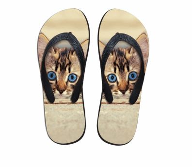 Cute Blue Eyes Cat Print Flip Flops Slippers Cat Design Footwear Pet Clever US 5 - EU35 -UK3