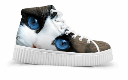 Cute Blue Eyes Cat Printing Thick Bottom Flats Casual Shoes Cat Design Footwear Pet Clever US 5 - EU35 -UK3