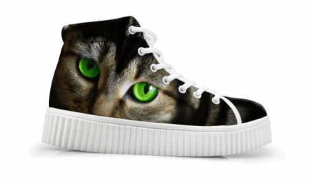 Cute Bright Eyes Cat Printing Thick Bottom Flats Casual Shoes Cat Design Footwear Pet Clever US 5 - EU35 -UK3