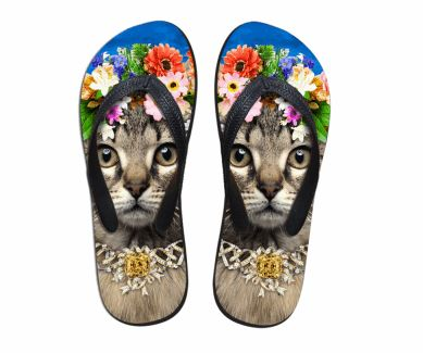Cute Brown Cat Print Beach Flip Flops Flat Slippers Cat Design Footwear Pet Clever US 5 - EU35 -UK3