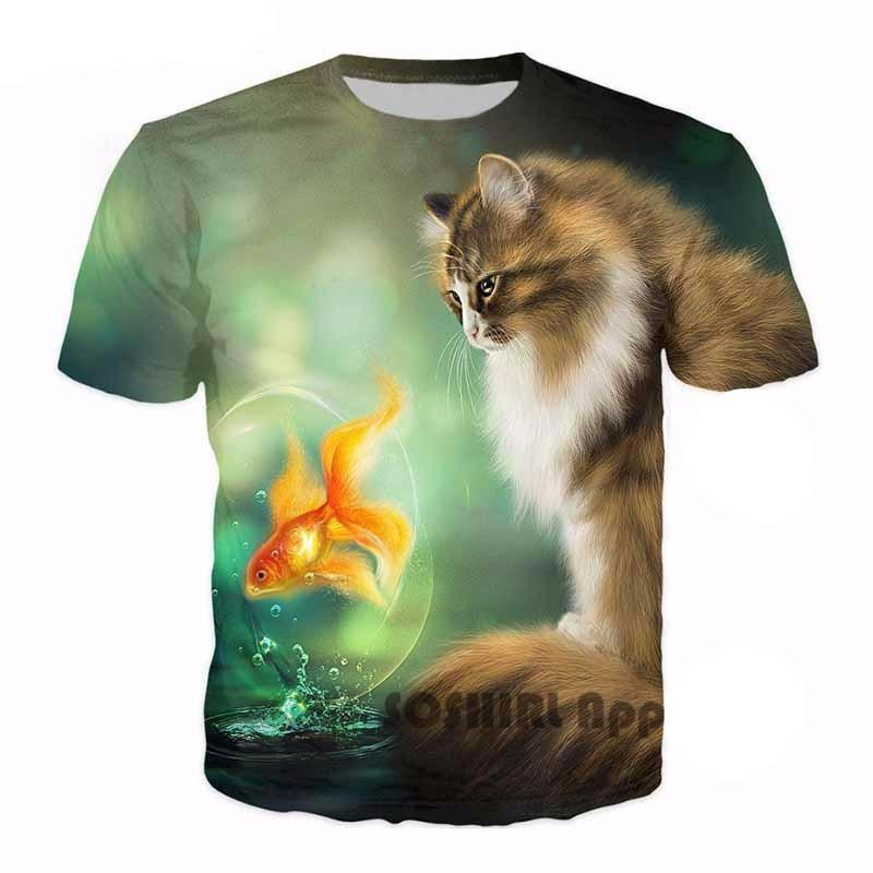 Cute Cat and Fish Print Unisex Casual T Shirt Cat Design T-Shirts Pet Clever