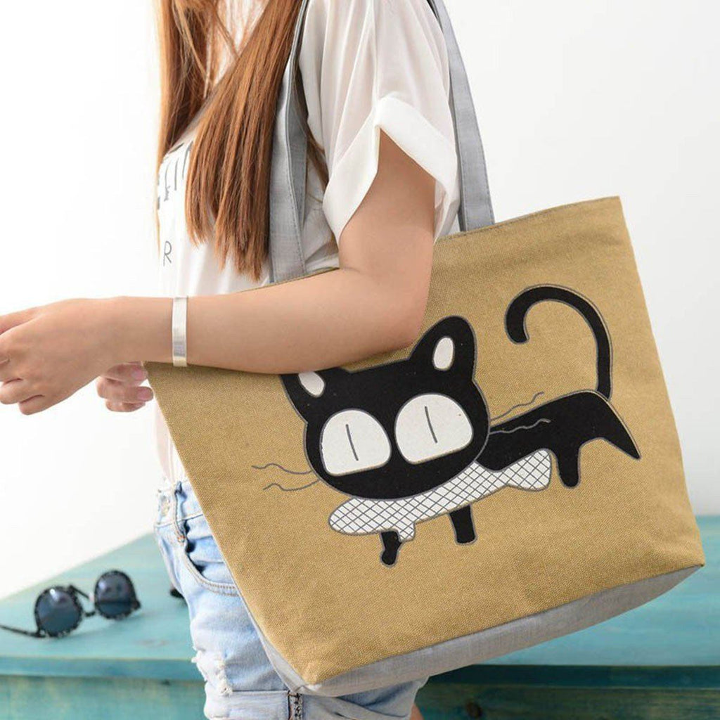 Cute Cat Eating Fish Lady Casual Handbag Cat Design Bags Pet Clever Khaki