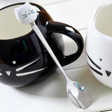 Cute Cat Face Stainless Steel Spoon Cat Design Accessories Pet Clever White