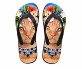 Cute Cat Print Beach Flip Flops Flat Slippers Cat Design Footwear Pet Clever Design 5