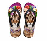Cute Cat Print Beach Flip Flops Flat Slippers Cat Design Footwear Pet Clever Design 6