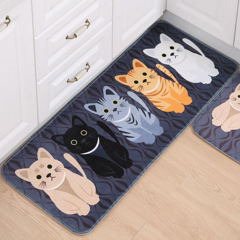 Cute Cat Print Carpets with Anti-Slip Tapete Home Decor Cats Pet Clever Black Small