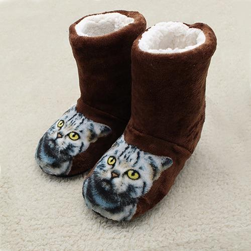 Cute Cat Print Plush Indoor Boots Cat Design Accessories Pet Clever Brown 5