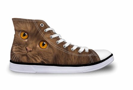 Cute Cat Printing High-top Canvas Shoes Cat Design Footwear Pet Clever Brown Cat