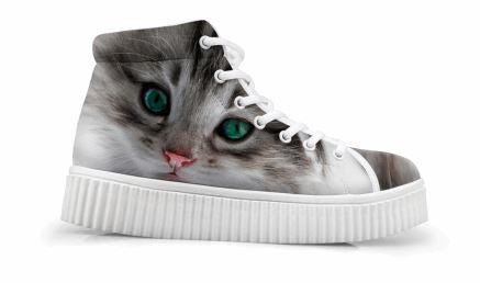 Cute Cat Printing Thick Bottom Flats Casual Shoes Cat Design Footwear Pet Clever Green Eyes