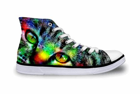 Cute Colorful Cat Printing High-top Canvas Shoes Cat Design Footwear Pet Clever US 5 - EU35 -UK3