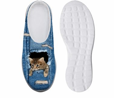 Cute Denim Reaching Out Cat Printed Leisure Platform Shoes Cat Design Footwear Pet Clever US 5 - EU35 -UK3