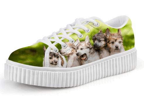 Cute Dog Print Creepers Lace Up Casual Shoes Dog Design Footwear Pet Clever 1